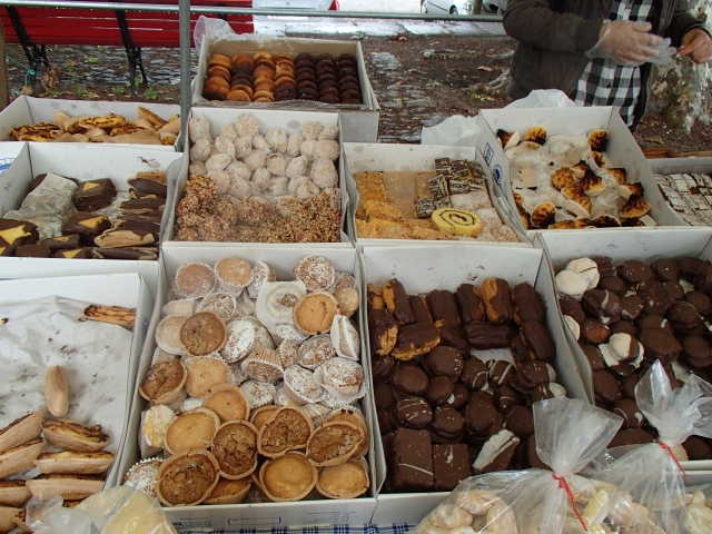 The treats that awaited us when we arrived in Ponte de Lima. Soaking wet, chilly and tired we rode right into a market along the river. I think we might have tried one of each of these goodies!