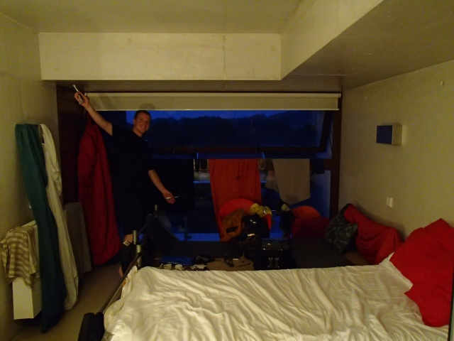 Using our room at the hostel in Ponte de Lima as a drying shelter.